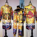 New Nightclub male singer long jacket Coat DJ Men Gold silk dragon robe embroidery loose men's suits Fashion Costumes
