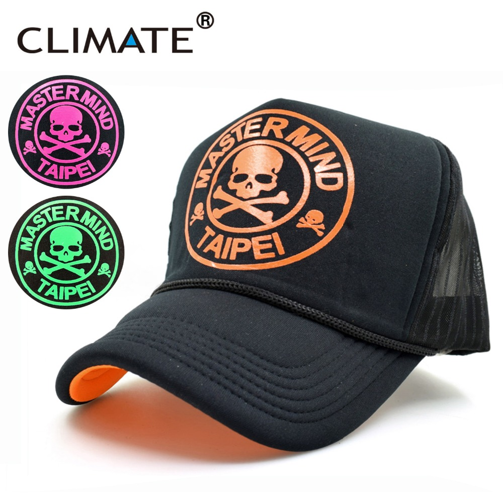 CLIMATE 2017 New Youth Summer Cool Skull Skeleton Black Mesh Trucker Caps Fluorescent Color Cool Adjustable Sport Net Caps Hat climate new summer cool black mesh trucker caps guardians of the galaxy groot fans printing meh youth nice mesh cool summer caps