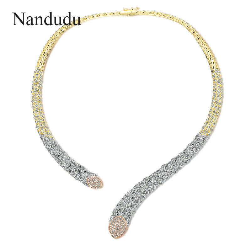 Nandudu New Luxury Choker Cuff Necklace for Women Girl with AAA Zircon slap up Torques Necklaces Bijouterie Gift CN494