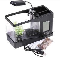 MIni Usb Desktop Electronic Aquarium Fish Breeding Tank with Water Running LED Pump Light Calendar Acrylic Aquarium Alarm Clock