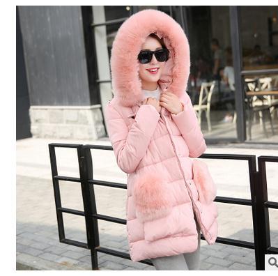 Kadın Rahat İnce Uzun Bölüm Pamuk Yastıklı Ceketler Bayan Kış Ve Sonbahar Kapüşonlu Kürk Yaka Palto M/2Xl Parkas J1651-20