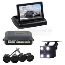 DIYKIT 4 x Sensors 4.3Inch Foldable Rear View Car Monitor Kit + 4 Parking Radar + Rear View Car Camera Video Parking Radar