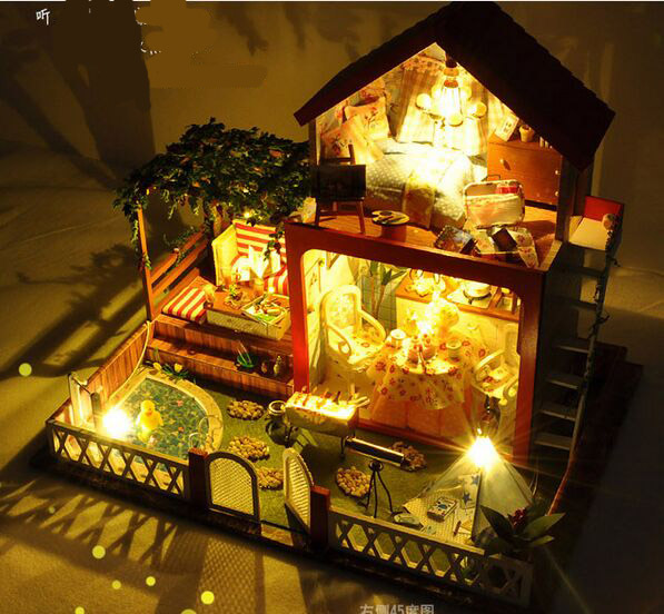 купить New arrive Christmas GIFT DIY summer evening Wooden Doll House With Furniture Dolls with music 3D Puzzle DollHouse Toy Gifts по цене 5548.6 рублей