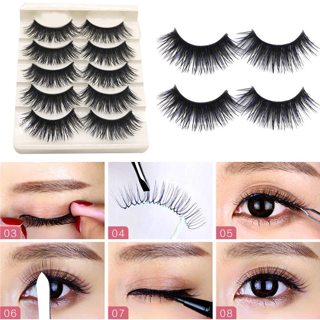 New Women Makeup Cosmetic Natural Densely Slender Fashion False Eyelash Set Long Eye Lashes Pack of (5 Pairs)