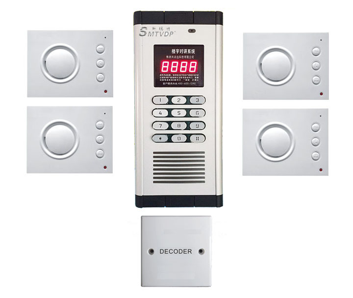 SMTVDP New Arrival Security non-visual building intercom system for 4-apartments ,hand-free audio door phone ,PASSWORD unlock