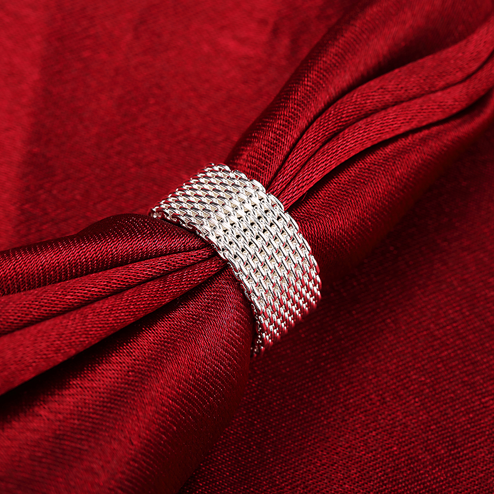 Anello del tessuto placcato argento all'ingrosso libero di trasporto, - Bigiotteria - Fotografia 6