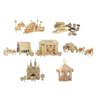 Chanycore Baby Learning Educational Wooden Toys 3D Puzzle Pet Shop Farm Castle Carriage Carousel Fairy Tale