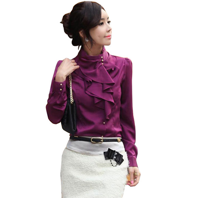 Korean Style Fashion Women Work Office Blouse Long Puff Sleeve Stand Collar Ruffle Faux Satin Blouse Shirt Camisas Chemise Femme