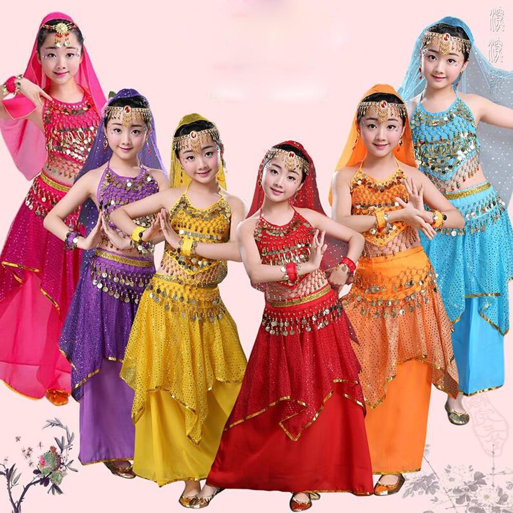 Children Belly Dance Costume Kids Indian Dance Dress Child Bollywood Dancing Costumes Girls Party Stage Performance Dance Wear индийский костюм для танцев девочек