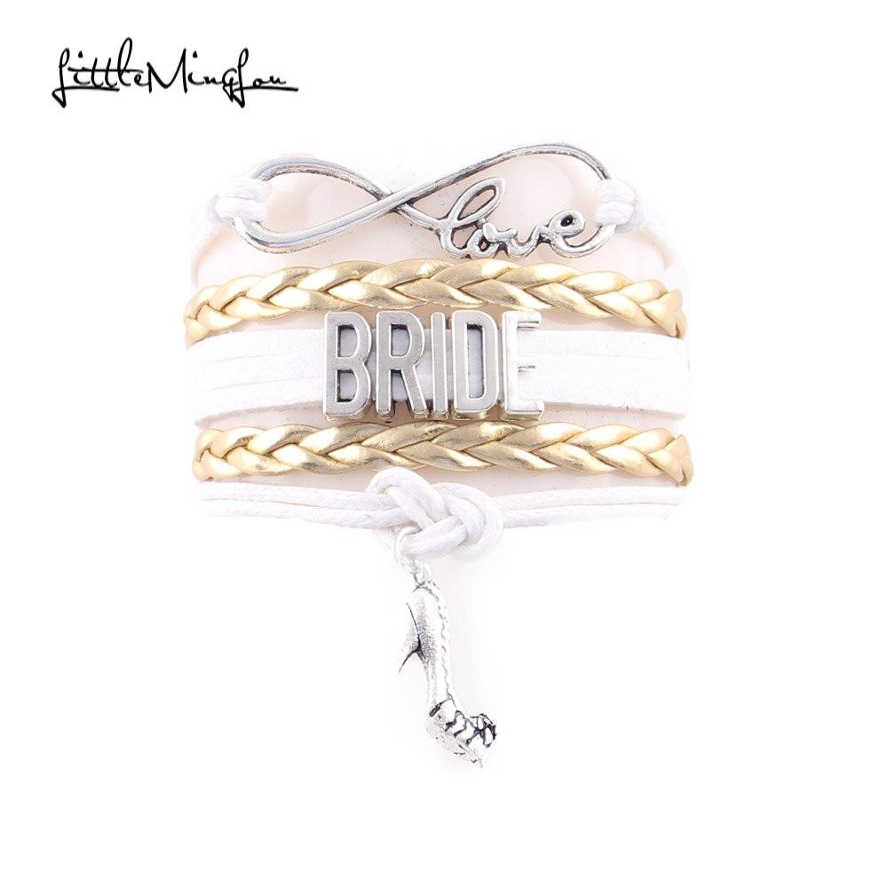 Little MingLou Infinity Love nevěsta květ dívka Bridesmaid nevěsta máma svatební náramek boty kouzlo ženy muži náramky a náramky