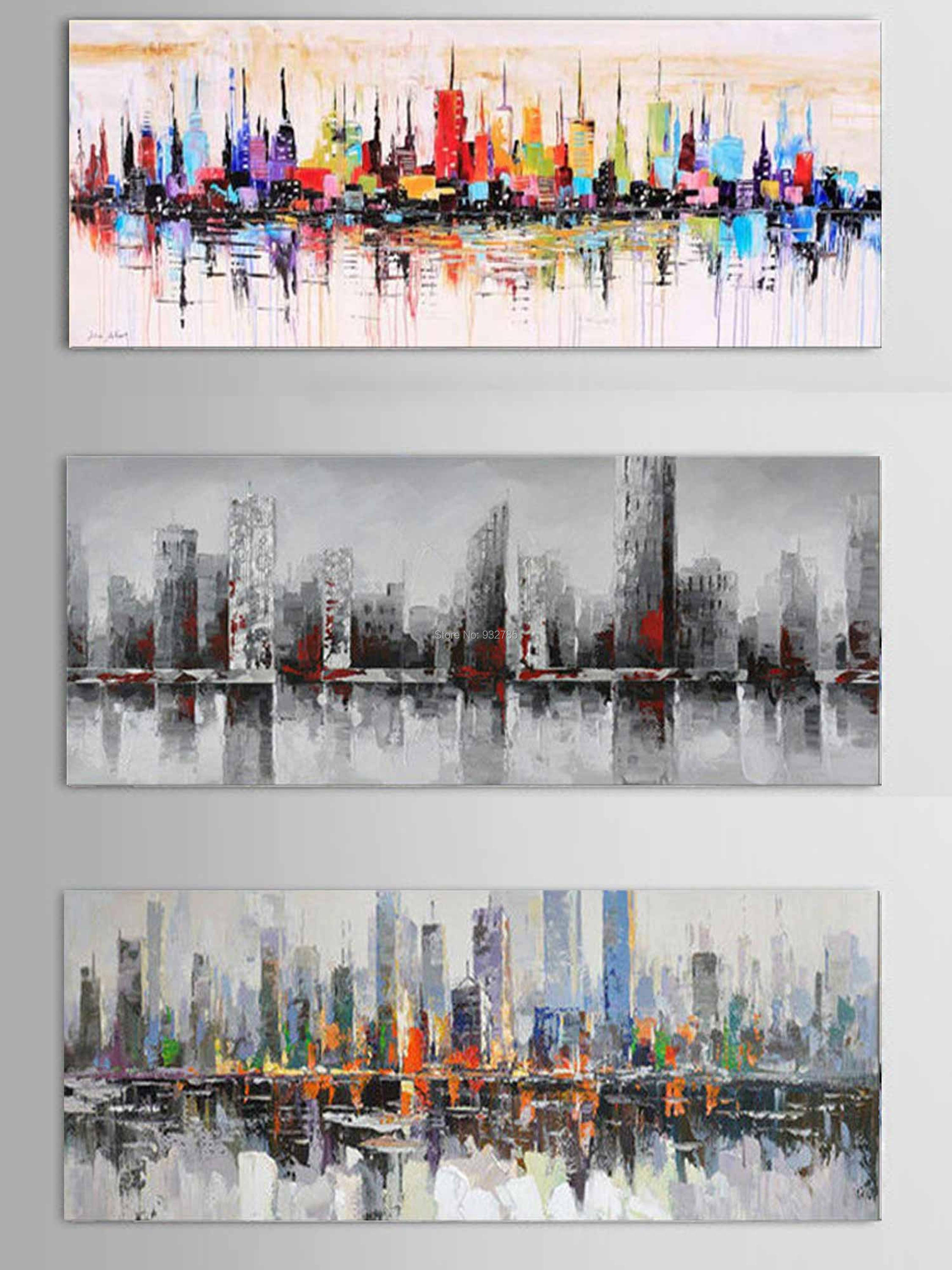 Wonderful New York City Picture Canvas 100% Handmade American Style Modern Abstract  Knife Oil Painting Home