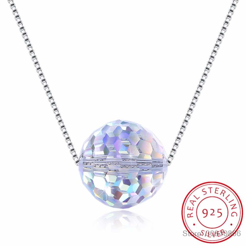 LEKANI Crystal from Swarovski Women Necklace Fine Jewelry Ball Crystal Pendant Necklace Fine Jewelry Collares de prata