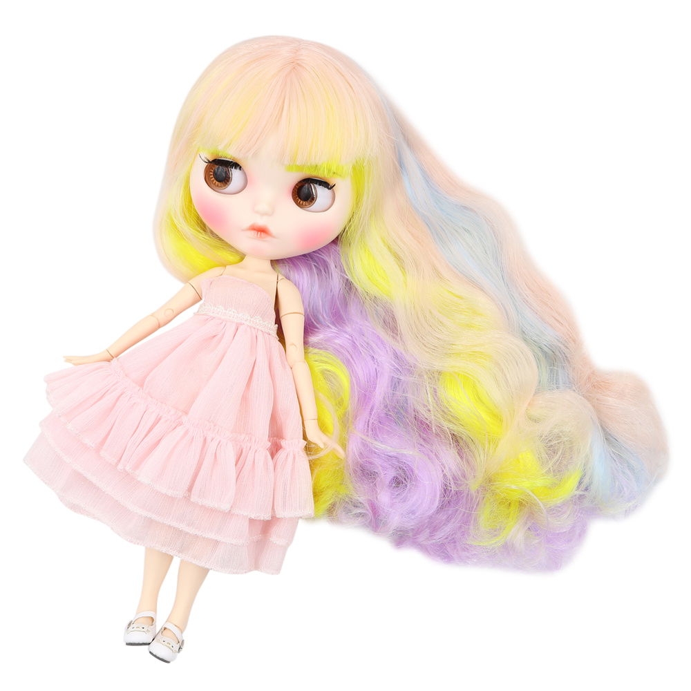 Blyth Nude Doll Joint body Cute sweet mixed color curly hair new matte white Skin 30cm