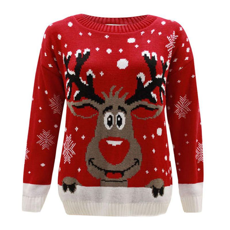 WEIXINBUY New Autumn Knitted Women Sweaters and Pullovers Cartoon ELK And Snowflake Printed Tops New Years Christmas Sweaters DD