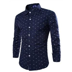 Image 4 - Мужская деловая рубашка Zogaa, Повседневная рубашка с длинными рукавами и рисунком стрелы, мягкая приталенная рубашка, 2019