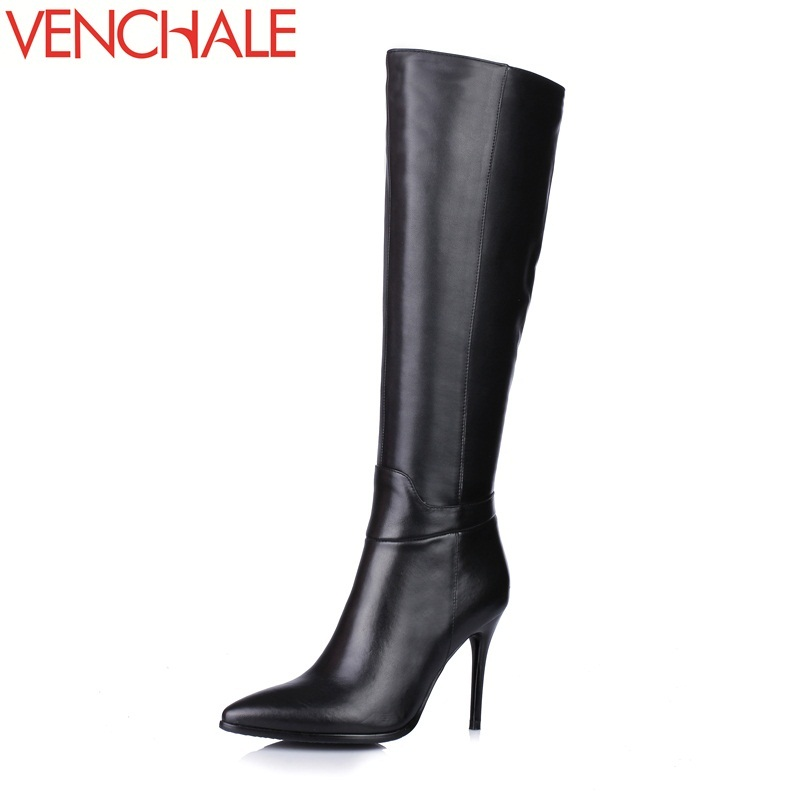 VENCHALE 2017 knee-high boots pointed toe high quality thin heels side zipper elegant concise princess women boots in winter hot selling 2015 women denim boots pointed toe tassel patchwork knee high boots crystal thin high heels winter motorcycle boots