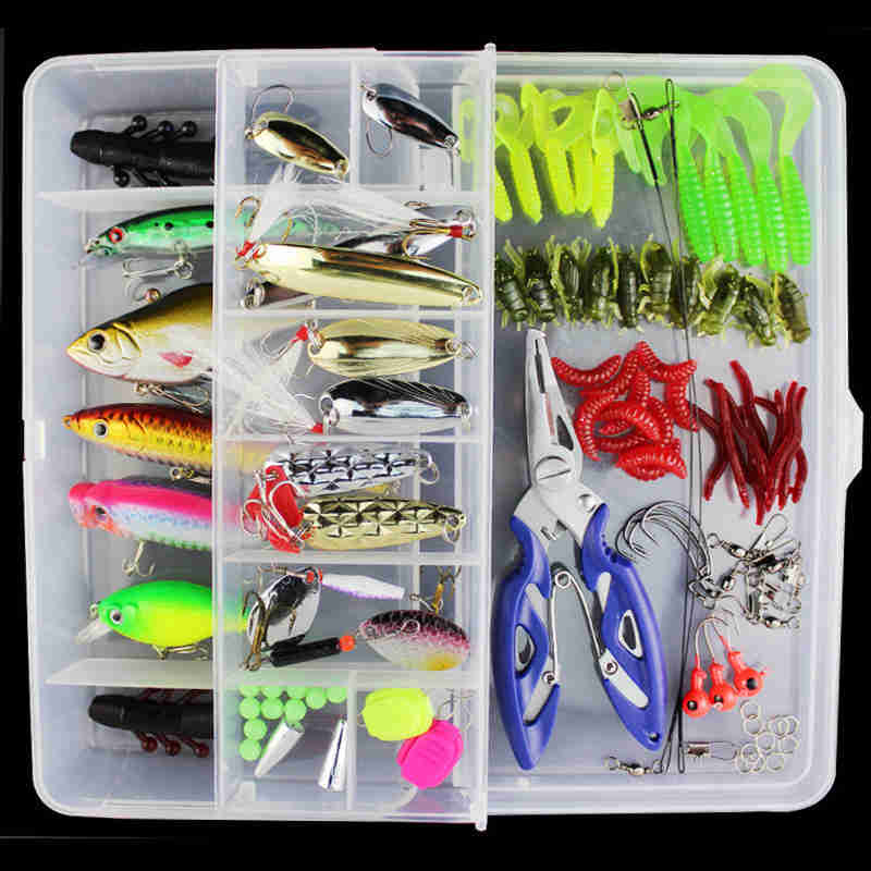 101 Pcs Lure Set Fishing Lure Kit Mixed Hard Soft Baits Crankbait Pencil Popper Pliers Minnow Hooks Set Fishing Accessories new road ya bait 101 all round swimming gear fishing lure valuable package lures set kit soft and hard lure hooks