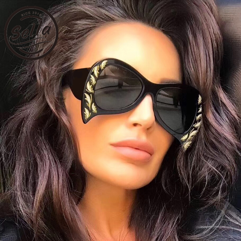 2018 New Arrival Oversized Women Sunglasses Luxury Brand Designer Fashion Unique Peacock Sun Glasses Trending Ladies Eyewear
