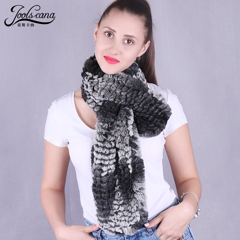 Joolscana real rabbit fur scarf women winter long scarf natural rabbit knitted fashion very soft warm new brand 2017