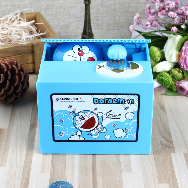Doraemon Brand New Steal Coin Piggy Bank Electronic Plastic Money Safety Box Coin Bank Money boxes new chatora cat itazura automatic kitty cat steal coin piggy bank savings box white