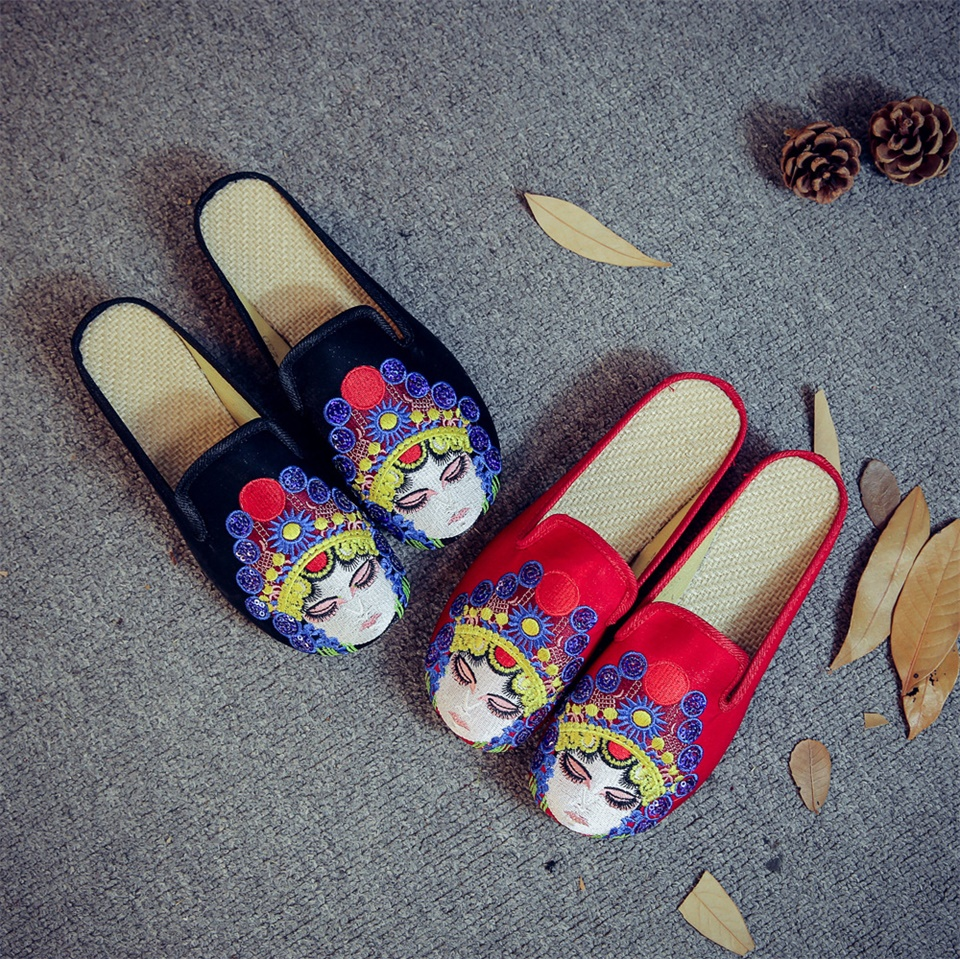 2019 Summer Women's Slippers Fashion Chinese Style Embroidered Sandals Wedges Comfortable Shoes Women Slippers