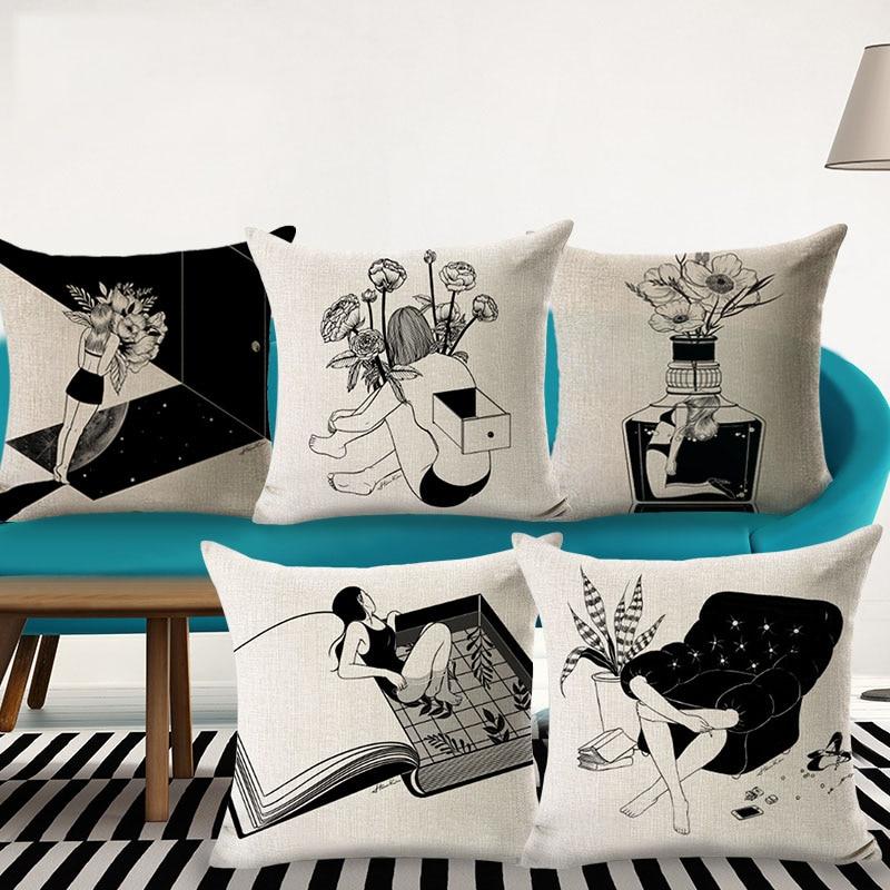 Exceptional Coussin Pas Cher Design #8: Creative Housse De Coussin Noir Et Blanc Conception Personnes Seules  Plantes Canapé Jet Taie Du0027
