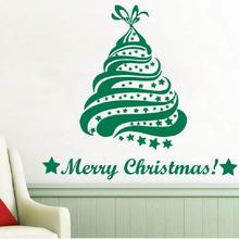 DIY Art Wall Decals Merry Christmas Tree 2017 Star Decoration Decal Vinyl Sticker Home Decor WY-27