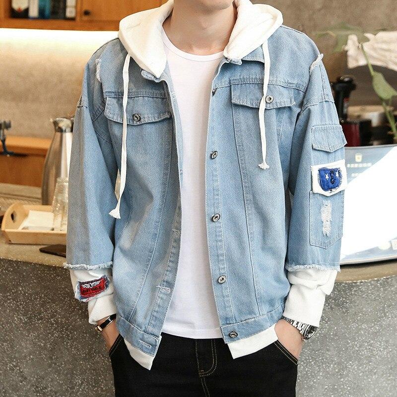 LEDINGSEN Ripped Blue Hooded Denim Jacket Mens Vinage Distressed Destroyed Jeans Coat Hip Hop Casual Jackets Coats 2018 Size 3XL