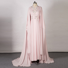 Real Picture Light Pink Chiffon Islamic Long Evening Dress Crystals Long Sleeves Cloak Party Gowns Arabic Dubai Kaftan Moroccan