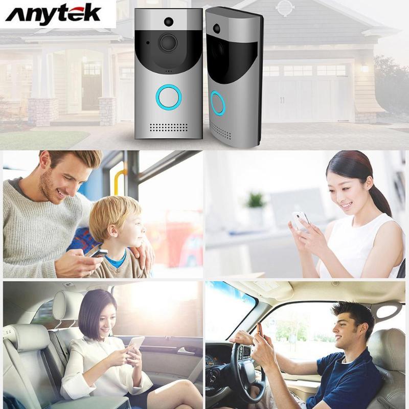 Anytek B30 Sans Fil WiFi Interphone Vidéo Sonnette Caméra + B10 Sonnette Récepteur Ensemble Porte Cloche Caméra Wifi Vidéo Nuit Vision - 6
