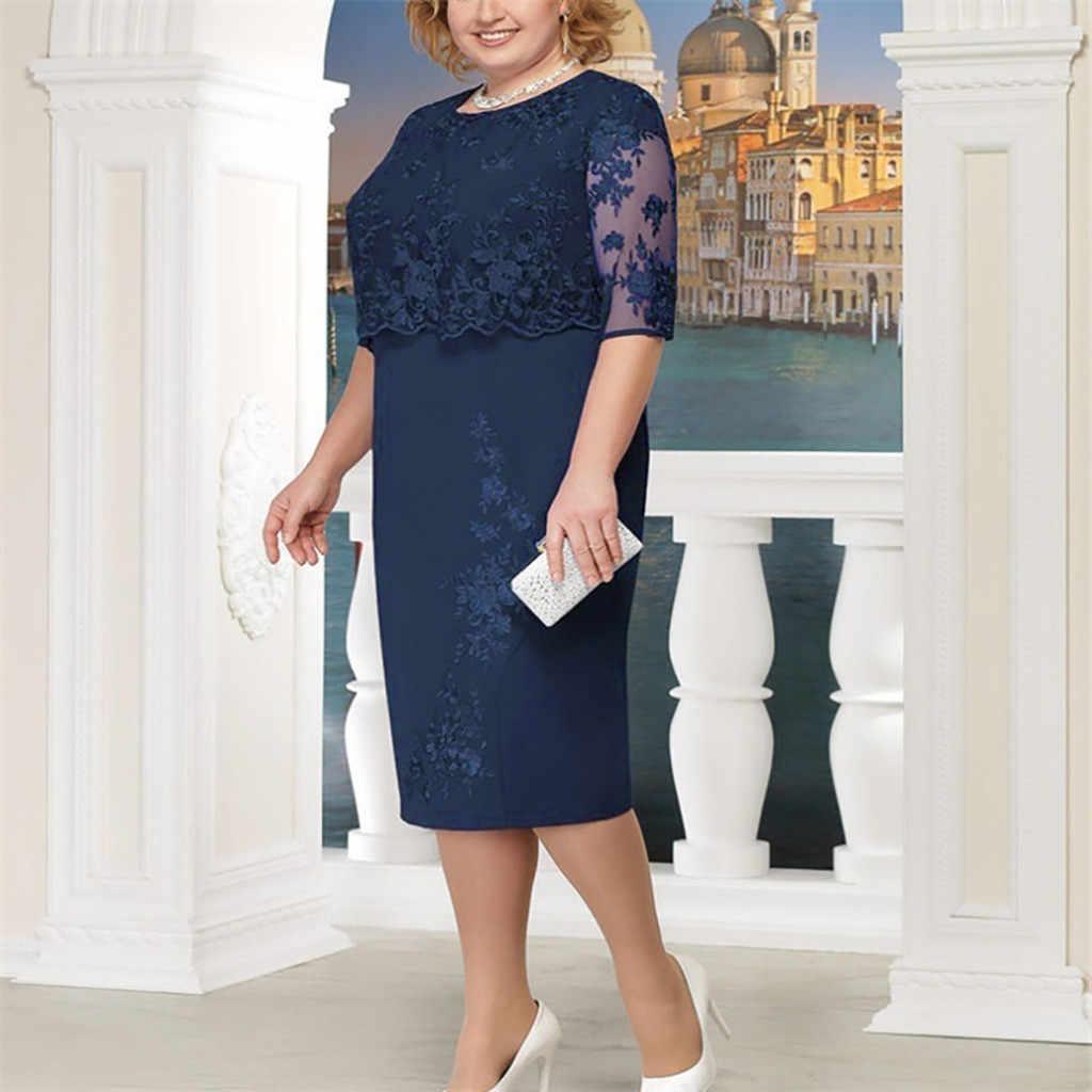אלגנטי אמא בתוספת גודל שמלות 2019 תחרה פרחי נשים פורמליות המפלגה שמלת ערב שמלת חלוק דה soiree vestidos #2