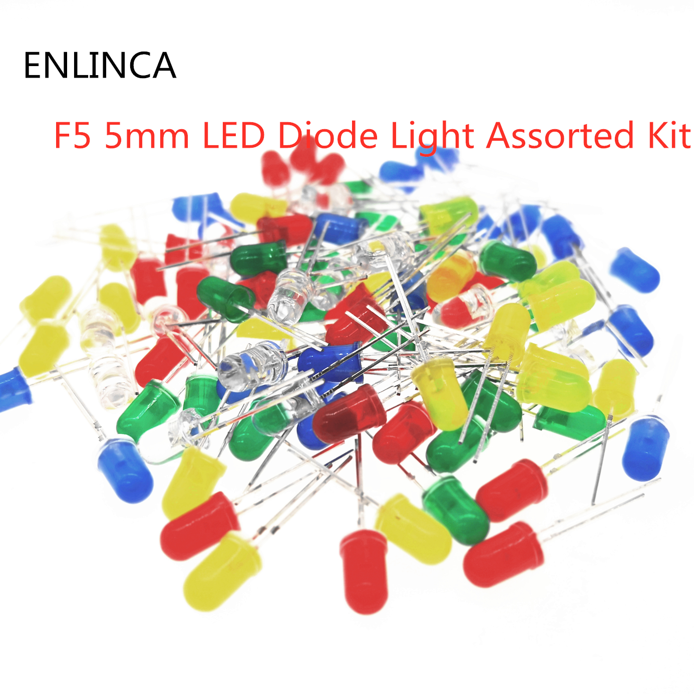 5 colors 500pcs 5mm Led Diodes Diffused Red Green Blue Yellow White Mix Kits