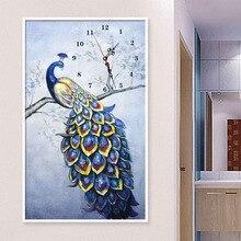 DIY Modern Diamond Painting Full Round Diamond Cross Stitch Kits Peacock Animal Diamond Embroidery Wall Clock