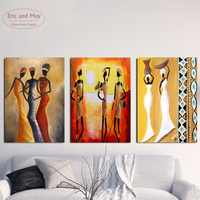 3 Panels African Woman Canvas Art Print Triptych Painting Poster Wall Pictures For Living Room Decoration Home Decor No Frame