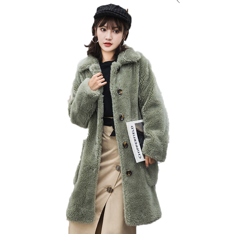 Real Fur Coat 100% Wool Jacket Autumn Winter Coat Women Clothes 2018 Korean Vintage Slim Women Tops Manteau Femme Hiver ZT1010