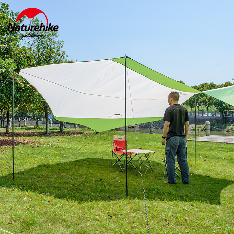 Naturehike Sun-shading Ultralight aluminum poles Outdoor Sunshade Camping Marquee Sun Fishing Tent sun shelter large tarp awning naturehike large camping tent awning sun shelter with pole beach playing games fishing hiking outdoor 5 person tent sun shelter