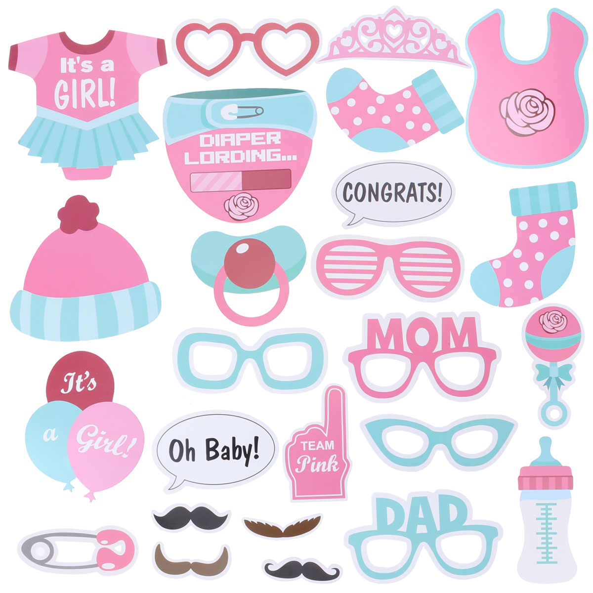 7d3a21c8044c Detail Feedback Questions about 25pc Baby Girl Birthday Photo Booth ...