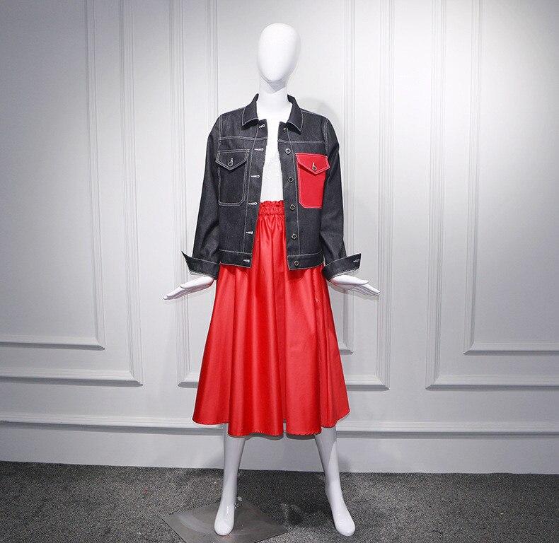 Couleurs Ww Jean Streetwear Automne Mode Wang 2018 Casual Contraste skirt Rouge Manteau Poche Coat Outwear Whitney Femmes Denim Veste 1732 Xw1aqg