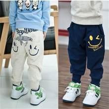 Gorąca sprzedaż nowe jesienne spodnie dla dzieci, Casual kieszeni chłopców dziewcząt uśmiechnięte twarze Harem spodnie, 1-9Y wysokiej jakości spodnie dziecięce