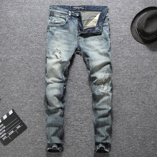 Italian Designer Men Jeans High Quality Slim Fit Cotton Ripped Homme Plus Size 29-38 Balplein Brand Classical