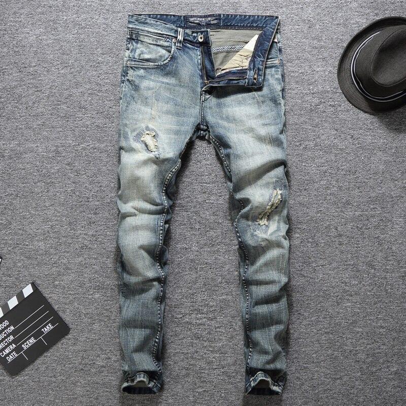 Italian Designer Men Jeans High Quality Slim Fit Cotton Ripped Jeans Homme Plus Size 29-38 Balplein Brand Classical Jeans Men