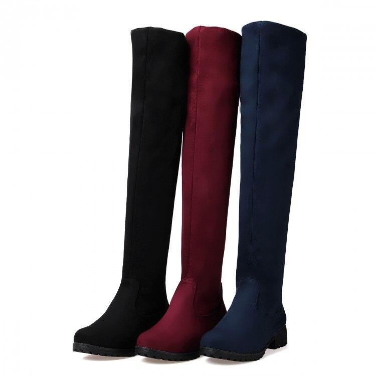 2016 knee the Boots Negro azul Tacón Bule Las 8 Tamaño Invierno Over rojo De Red Mujeres 5 Bajo Con E Punta Redonda Otoño Plana Zapatos rqrvfzAx