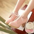 2016 Nueva Moda para mujer de tacón cuadrado bombas de Punta Redonda Con Cordones Zapatos Casuales versión Coreana Sólido de Cuero Suave Grande tamaño de los zapatos