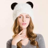 Warm Winter Hat For Women 2017 Wool Knitted Womens Cat Ears Faux Mink Hats Skullies Fur Pompom Caps Female Beanies Bonnet Femme