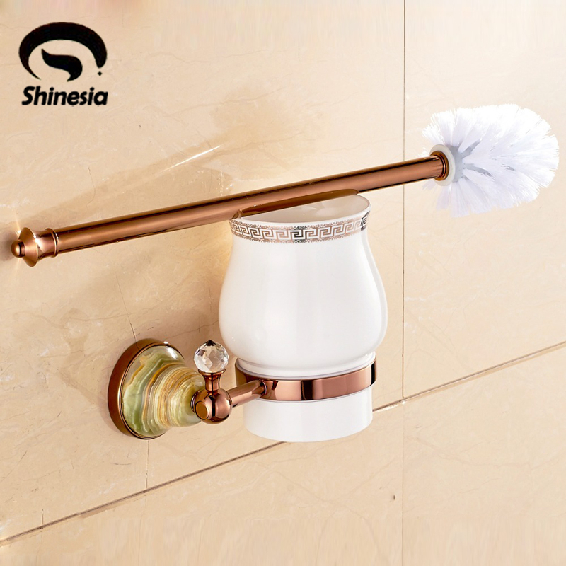 Jase Base Rose Gold Finsh Bathroom Toilet Brushed Holder Brush + Cup + Holder antique copper toilet brush holder ceramic solid brass bathroom toilet brush cup holder rack bathroom brush shelf