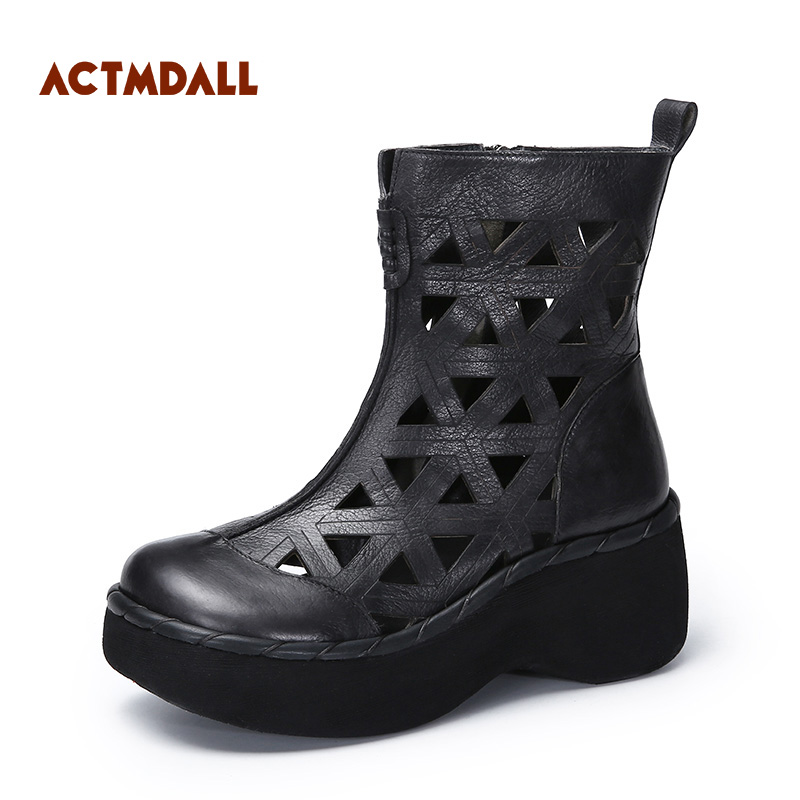 2018 Spring And Summer Boots Women High Heels Wedges Platform Boots Hollowed-out Roman Women Sandals Thick Soles fashionable women s sandals with platform and hollow out design