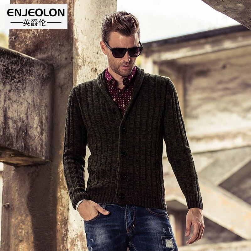 Enjeolon marque hiver Tricoté cardigans à glissières mens solide pull en laine mâle Homme Tricots décontracté cardigans à glissières mâle M2013
