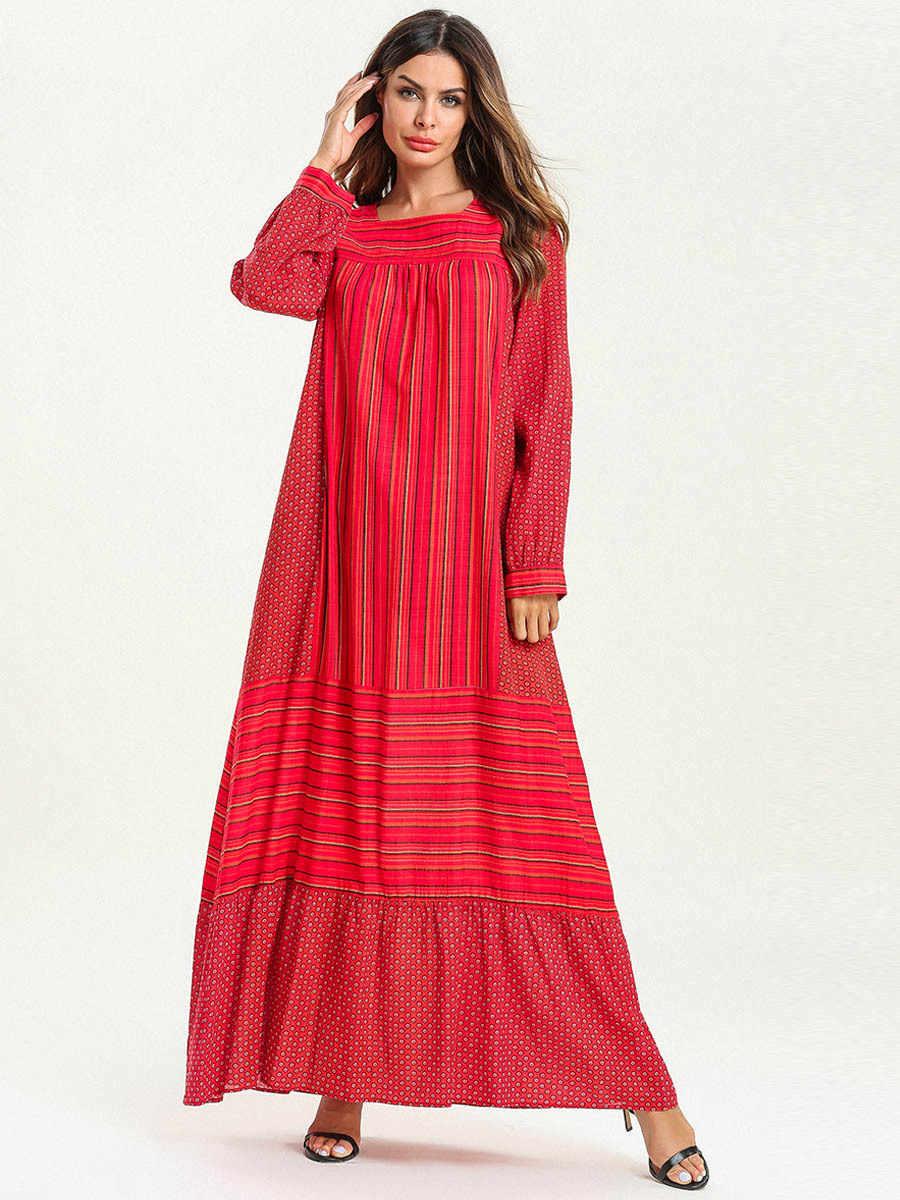 e78ff7ac6aef6 ... Women Abaya Dubai Red Muslim Maxi Dress Kaftan Turkish Islamic Plus  Size Clothing Dot Striped Long ...