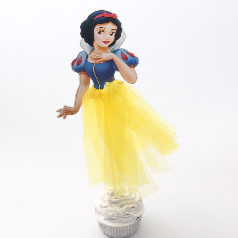 1pcs Pretty Snow White Cupcake Topper Theme Cartoon Party Supplies Kids Boy Birthday Party Decorations