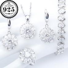 Здесь можно купить   Round White Cubic Zirconia 925 Sterling Silver Jewelry Sets Wedding Earring/Pendant/Necklace/Bracelet/Ring For Women Fashion Jewelry